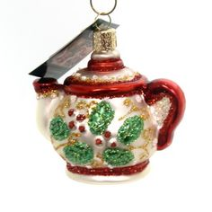 Old World Christmas Holly Teapot Hot Cup Christmas