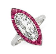 FD Gallery | An Art Deco Ruby and Diamond Navette Ring, circa 1920