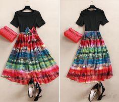 Doresuwe.com SUPPLIES Doresuweデザイン欧米ストリートスナップファッション大人気花柄切り替え膝上ワンピース Doresuweデザイン (10)