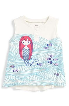 Free shipping and returns on Tea Collection 'Matsyanari' Graphic Print Sleeveless Cotton Tee (Baby Girls) at Nordstrom.com. Shimmery fish swim beside a mermaid on this fanciful little sleeveless top that features a high/low cut and a button front.
