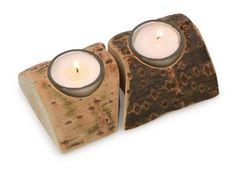 Sternen oder Herzen aus Holz, Kerzen in Holzsäulen ...