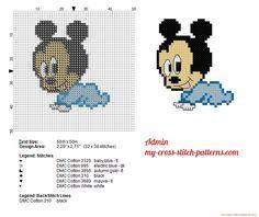 Disney Baby Mickey Mouse small cross stitch pattern