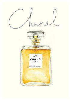 Watercolour Chanel No 5 Perfume bottle, A4 giclée Print