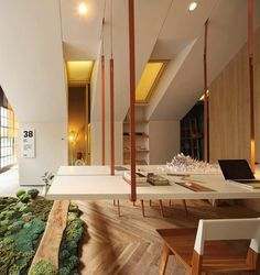 Office with Mossy 'Rug' and Suspended table More