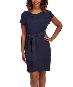 Look what I found on #zulily! Deep Blue Crettone Dress by Bastine #zulilyfinds