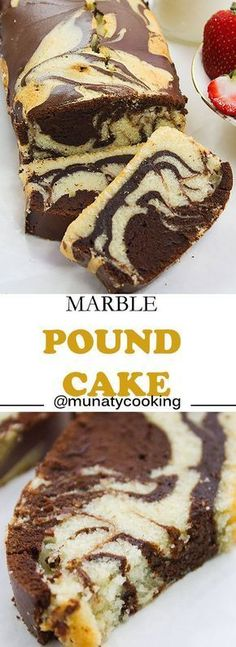 A combination of two amazing flavors, authentic pound cake and fudge chocolate cake. This is one of the amazing versions of pound cake that I enjoy making for my family. Marble Pound Cakes, Marble Cake Recipes, Pound Cake Recipes, Dessert Recipes, Simple Marble Cake Recipe, Dinner Recipes, Loaf Recipes, Cooking Recipes, Mini Cakes