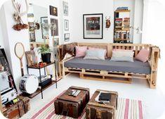 Möbel weiße Wände Paletten gartenmöbel europaletten elegant
