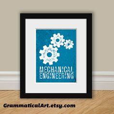 Mechanical Engineer Print Engineering Gears by GrammaticalArt, $17.00