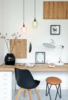 bureau style scandinave, bureau bois suspendu, chaise et tabouret