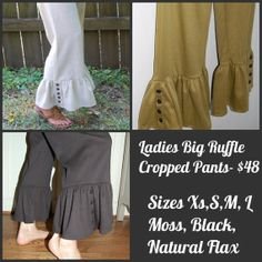 Women's Cropped Black Big Ruffle Pants by rollerm on Etsy, $48.00