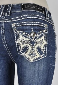 LA IDOL JEANS BOOT SZ 7 W/ WHITE STITCHING CROSS DESIGN AND DETAILS (2924LP) NWT #LAIdol #BootCut Bling Jeans, Silver Jeans, La Idol Jeans, Cowgirl Tuff, Cross Designs, Big Star, Miss Me Jeans, Jeans And Boots, Tin Haul