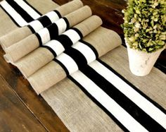 Burlap table runner wedding table runner with black and white French stripes, rustic chic table decor , handmade in the USA