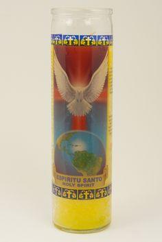Espiritu Santo Yellow Religious Candle. I have a row of these.