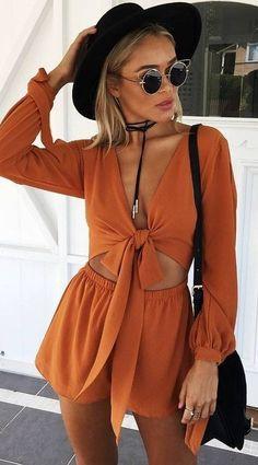 spring fashion Black Hat & Orange Romper & Black Shoulder Bag