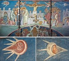 "A fresco entitled ""The Crucifixion"" and was painted in 1350. The fresco is located above the altar at the Visoki Decani Monestary in Kosovo, Yugoslavia. The two objects in the painting, which could be considered UFO's, are enlarged below."