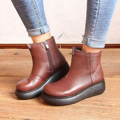 2 Colors! Handmade Winter Platform Shoes Zipper Side Flat Short Boots Women Leather Booties Casual flatform shoes by HerHis