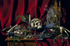 """"""" B.A VIERLING - The Vanitas takes it's thematic inspiration from the traditional still life genre of the same name, prevalent in northern Europe throughout the 16th and 17th centuries. My unique composition groups artifacts and relics that were painstakingly rendered from real life over the course of many months. The display is a deeply personal exploration of these objects. The painting measures 36"""" x 24"""" (91 cm x 61 cm). Executed in egg tempera and oil paint on panel."""""""
