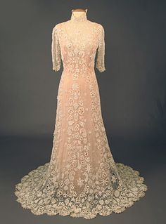 Irish Crochet Lace Tea Gown, c. 1910.