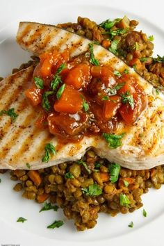 Swordfish Steak with Mango Chutney on Curried Lentils