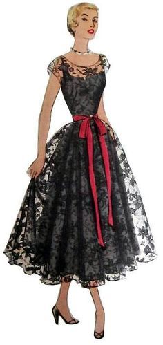 In this picture, it shows a lace cocktail dress, showing that lace was popular in the depending on your class 50s Dresses, Vintage Dresses, Vintage Outfits, Fashion Dresses, Vintage Chic, Moda Vintage, Fashion Illustration Vintage, Illustration Mode, Fashion Illustrations