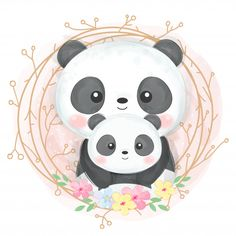 cute animal illustration, animal clipart, baby shower decoration, woodland illustration - Buy this stock vector and explore similar vectors at Adobe Stock Panda Illustration, Woodland Illustration, Portrait Illustration, Chicken Illustration, Watercolor Illustration, Niedlicher Panda, Cute Panda, Baby Clip Art, Baby Art