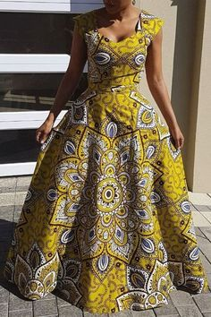 Silhouette: A-Line Dress Length: Floor-Length Sleeve Length: Sleeveless Combination Type: Single Closure: Pullover Elasticity: High Elasticity Pattern: Floral,Color Block Embellishment: Hollow,Backless,Print Style: Western,African Ethnic Style * Size Dr African Fashion Ankara, African Fashion Designers, African Inspired Fashion, African Print Fashion, Ethnic Fashion, Long African Dresses, African Print Dresses, Sexy Maxi Dress, Floral Maxi Dress