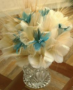 Alexandra feather bouquet - goose, duck and rare vintage egret feathers Feather Bouquet, Feathers, Glass Vase, Flowers, Plants, Vintage, Plant, Vintage Comics, Royal Icing Flowers