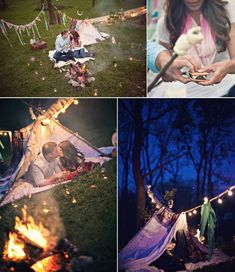 Camping & s'more's love shoot.... beautiful! A pretty tent lit up with fairy lights would make a lovely children's play area for a garden wedding don't you think?