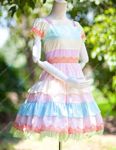 Princess Sweet Rainbow Seven Colors Multilayer Lolita Dress
