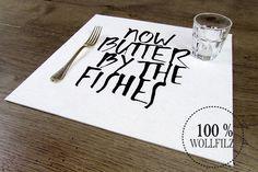 Platzsets - Tischset Platzset Filzauflage wollweiss Druck Typo - ein Designerstück von ein-raumunikat bei DaWanda