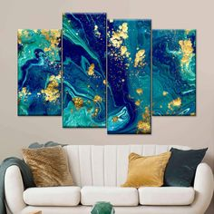 Golden Blue Marble carefully handcrafted to bring unique style into your home. Change the entire feel of any space and make an interesting statement with this abstract canvas print. Turquoise Wall Art, Teal Wall Art, Resin Wall Art, Teal Art, Blue Wall Decor, Cactus Wall Art, Wall Art Decor, Blue Office Decor, Colorful Wall Art