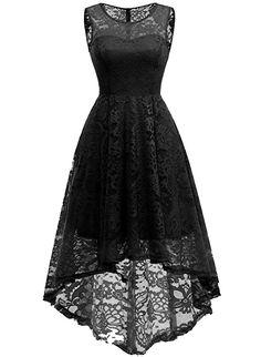 MuaDress Elegant Kleid aus Spitzen Damen Ärmellos Unregelmässig  Cocktailkleider Party Ballkleid  Amazon.de  Bekleidung. Brautjungfern  Kleider ... ed8b0fe3f9