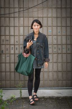 Levi's Denim Jacket, Longchamp Bag, Codes Combine Sleeveless Long Tee, No Brand Leggings, Birkenstock Sandals