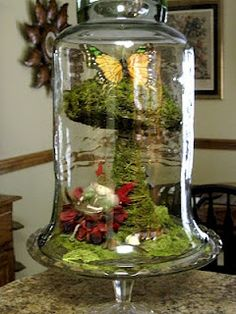 A Mcinnis Artworks: Spring Cloche Ideas....Fairy world in a bell jar.