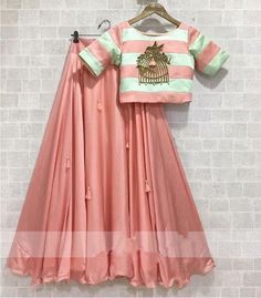 Baby pink raw silk lehenga with bird cage motif. Indian Gowns Dresses, Indian Fashion Dresses, Dress Indian Style, Indian Designer Outfits, Lehenga Choli Designs, Ghagra Choli, Indian Wedding Outfits, Indian Outfits, Party Kleidung