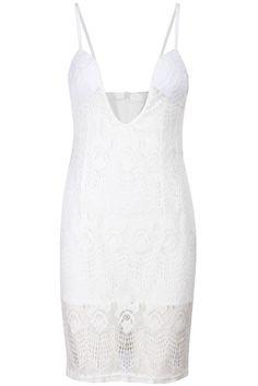 White Spaghetti Strap Embroidered Lace Dress