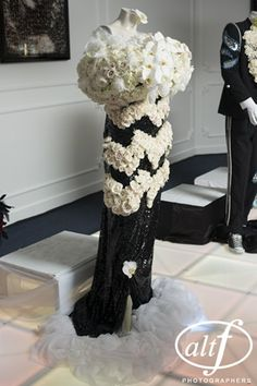 dress: black and white flowers