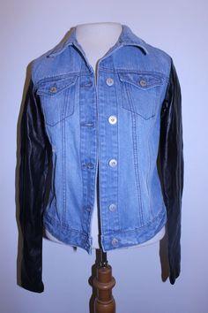 Mudd Jacket XS Denim Faux Leather Sleeves Moto Coat #Mudd #Motorcycle