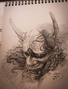 Chronic Ink Tattoo - Toronto Tattoo Hannya mask sketch by Tony.