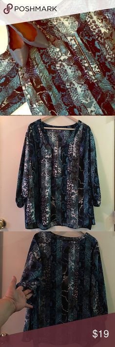 NY Collection Blue Animal Print ⭐️Plus Size Top Preloved in like new conditions. Size 3X 100% Polyester material, no stretch. Sleeves have elastic on hem. Trendy silver zipper in the front. NY Collection Tops Blouses