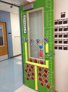 This teacher used a pool noodle for a football goal post classroom door decoration. What a unique idea for the sports theme classroom! {broken link, picture only}