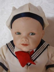 ADORABLE SAILOR BOY BISQUE SITTING DOLL YOLANDA BELLO ASHTON DRAKE