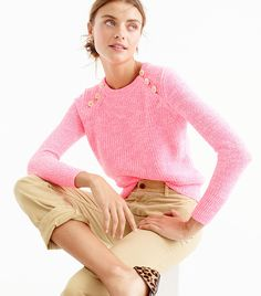 J.Crew Textured Cotton Sweater With Anchor Buttons ($80) The perfect layering piece