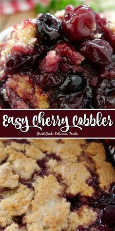 This Easy Cherry Cobbler is a delicious cherry cobbler recipe with a cake-like, crunchy topping and is bursting with sweet, juicy cherries. Easy Cherry Cobbler, Fruit Cobbler, Cherry Cobbler Recipe With Fresh Cherries, Sweet Cherry Recipes, Sweet Cherries, Easy Cobbler Recipe, Cherry Berry Pie Recipe, Bisquick Cobbler Recipes, Desert Recipes