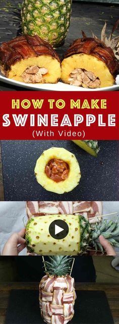 BBQ Swineapple: Pork Stuffed Pineapple Wrapped With Bacon – BBQ Pork Tenderloin stuffed in a pineapple, and then wrapped with bacon. You can grill or bake it! All you need is just a few ingredients: p (Few Ingredients Recipes) Grilling Recipes, Pork Recipes, Cooking Recipes, Recipes With Bacon, Easy Recipes, Bbq Pork Tenderloin, Bacon Wrapped Pork Tenderloin, Pineapple Recipes, Bbq Pineapple