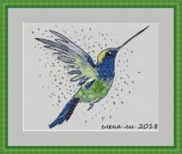 "Gallery.ru / BelleBlue - Альбом ""Колибри"" 123 Cross Stitch, Hummingbird, Rooster, Birds, Pattern, Animals, Dots, Punto De Cruz, Animales"