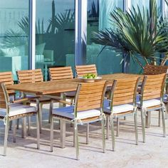 This Westminster Teak Outdoor Furniture Set combines our Vogue Extension Table with Vogue Stackable Armchairs. All our teak outdoor furniture comes with a 60 Day Money Back Guarantee. Teak Outdoor Furniture, Patio Furniture Sets, Furniture Design, Garden Furniture, Furniture Ideas, Furniture Movers, Furniture Assembly, Recycled Furniture, Furniture Layout
