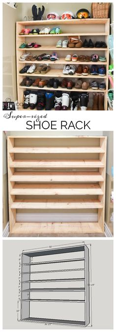 If you're looking for shoe storage for an active family, then this easy DIY is for you. Free building plans to make your own super-sized shoe rack with room for everything from ski boots to flip flops.