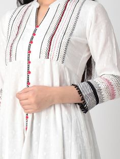 Best 12 Beautiful detailing with embroidery and dori-latkan. Dress Neck Designs, Designs For Dresses, Blouse Designs, Pakistani Dresses Casual, Pakistani Dress Design, Textiles, Kurta Cotton, Kurta Patterns, Kurta Neck Design