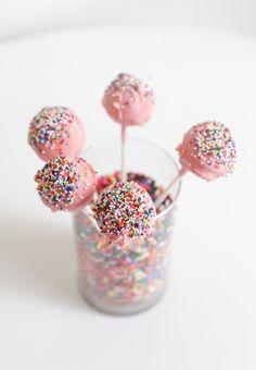 Pink sprinkle cake pops!